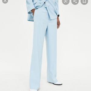 Zara light blue straight cut trousers